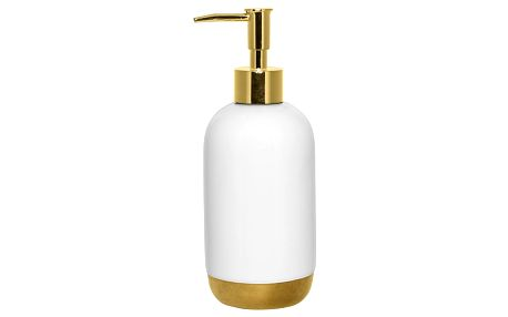 Bloomingville Zásobník na mýdlo White/gold, bílá barva, zlatá barva, keramika