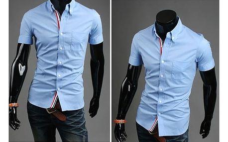 Stylová pánská košile s krátkými rukávy v různých barvách - Světle modrá, velikost 5