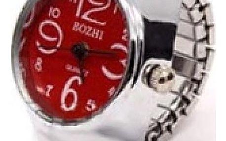 Prstýnkové hodinky s mohutným ciferníkem - červená