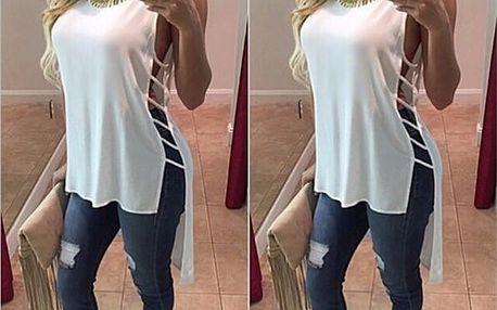 Dámské rozevláté tričko s rozparky - Bílá, velikost 2