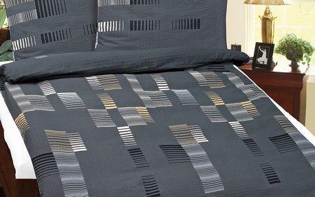 Bellatex Krepové povlečení Čárky šedá, 140 x 200 cm, 70 x 90 cm