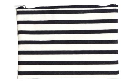 House Doctor Kosmetická taštička Stripes, béžová barva, černá barva, krémová barva, textil