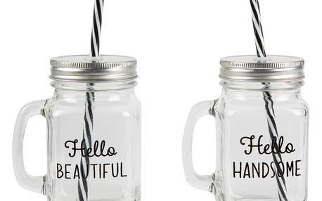 sass & belle Sklenice s víčkem Hello handsome/Hello beautiful Hello beautiful, čirá barva, sklo