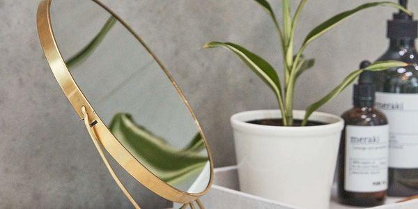 meraki Kosmetické zrcátko se stojánkem Brass, měděná barva, sklo, kov