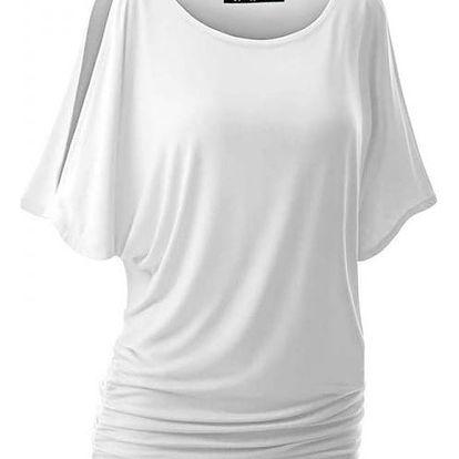 Dámské triko s otvory na ramenou v mnoha barvách - Bílá, velikost 3