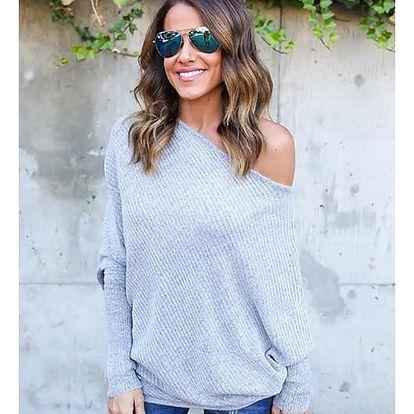 Dámský svetr s širokým výstřihem - 3 barvy