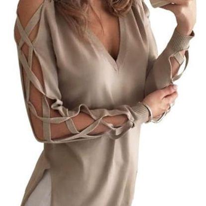 Dlouhé dámské tričko s otevřenými rukávy - velikost 3
