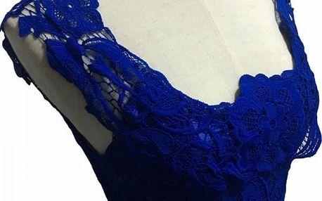 Krajkové šaty bez rukávů - modrá - velikost 2