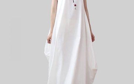 Dámské šaty v rozevlátém stylu - bílá, velikost 9