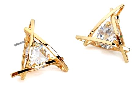 Náušnice v originálním trojúhelníku - zlaté