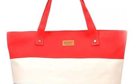 Dámská letní kabelka s pruhy - Melounově červená