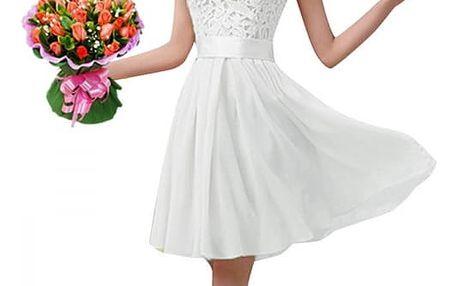 Dámské letní šaty s krajkovým topem - Bílá - velikost č. 5
