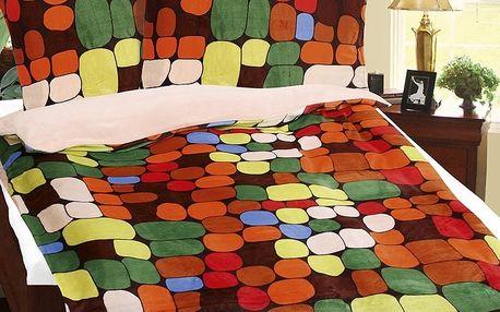 Bellatex Povlečení mikroflanel Kameny barevné, 140 x 200 cm, 70 x 90 cm