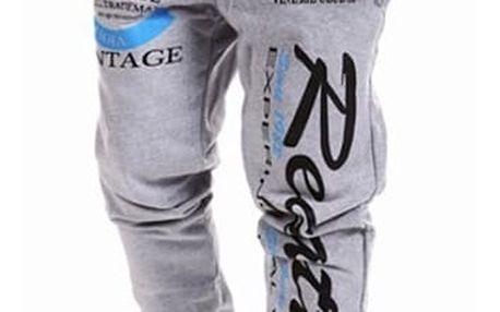 Sportovní tepláky s výrazným potiskem -šedá XL