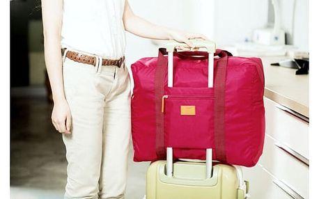 Skládací cestovní taška na kufr - růžová