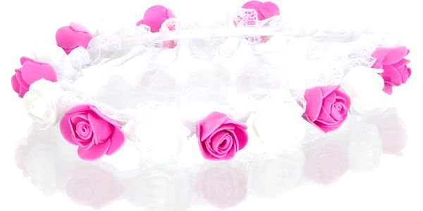 Čelenka do vlasů - květinový věneček svatební s krajkou