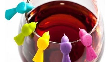 Značka na sklenici vína v podobě ptáčka - 6 ks