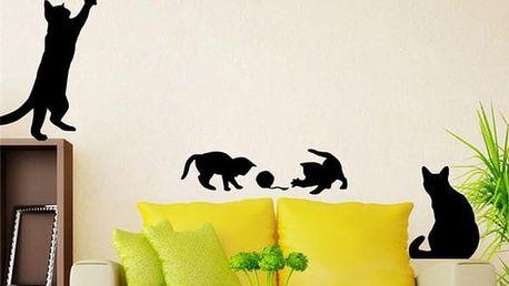Samolepka na zeď - Čtyři hravá koťátka - dodání do 2 dnů