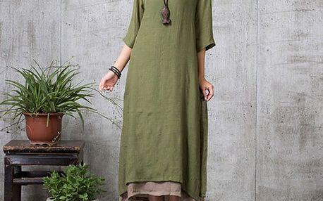 Dámské bavlněné maxi šaty - zelená barva - dodání do 2 dnů