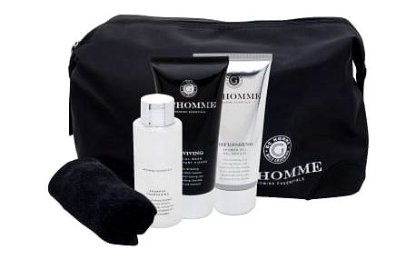 Grace Cole Homme Ultimate Black Pepper dárková kazeta pro muže sprchový gel Refreshing 100 ml + čisticí přípravek Reviving Facial Wash 100 ml + šampon Cleansing 100 ml + ručník 1 ks + kosmetická taška