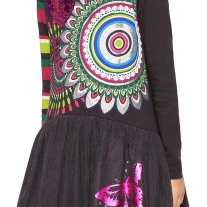 Desigual tmavě šedé dívčí šaty Rouge s barevným potiskem