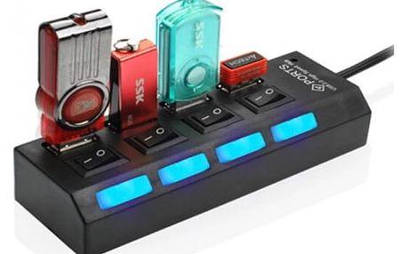 USB HUB s vypínači - 4 porty