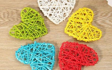 Dekorativní srdíčko z pedigu - různé barvy (5 kusů)