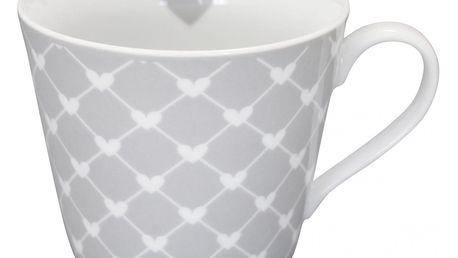 Krasilnikoff Hrneček Hearts grey diagonal, šedá barva, porcelán