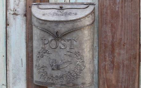 Chic Antique Poštovní schránka Letters, šedá barva, zinek