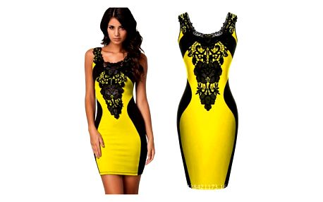 Dámské šaty se sexy krajkovaným výstřihem - žlutá, vel. 3