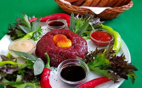 Tatarák z hovězí roštěné pro dva a neomezené množství topinek