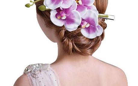 Květinová spona s orchideí do vlasů - různé barvy