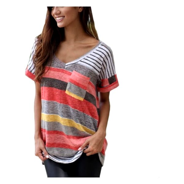 Dámské tričko s kapsičkou - Červená, velikost 5