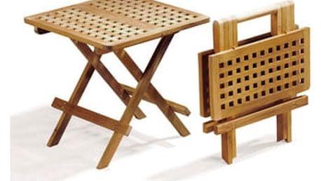 Piknik hranatý teakový skládací stolek (teakový malý stoleček)