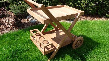 Servírovací teakový vozík s kolečky 2. jakost (teak trolly)