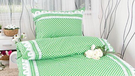 XPOSE ® Bavlněné povlečení na dvě lůžka APOLENA - zelená 140x200, 70x90