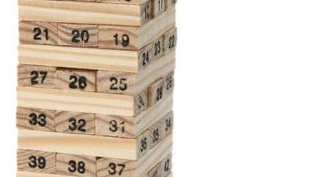 Očíslovaná Jenga věž + 4 hrací kostky
