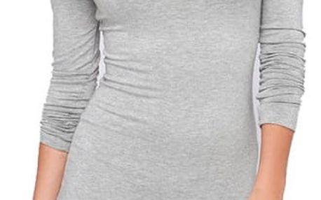 Upnuté mini šaty s dlouhým rukávem - Šedá - 3 - dodání do 2 dnů