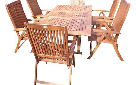Viet H eukalyptový set 1+6 s certifikátem FSC (Zahradní nábytek dřevěný eukalyptus)