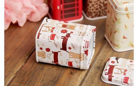 Plechové krabičky s různými motivy - Zvířátka - bílá