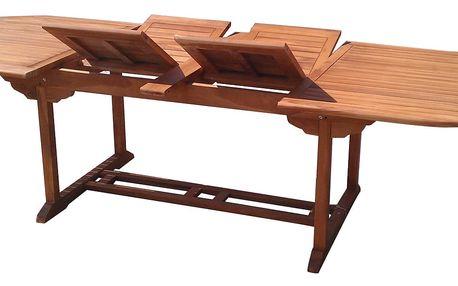 Extra oválný teakový rozkládací stůl (Zahradní stůl z teaku)