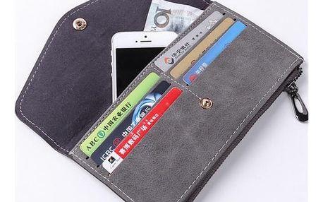 Pouzdro pro mobil i elegantní peněženka - 2v1 - šedá