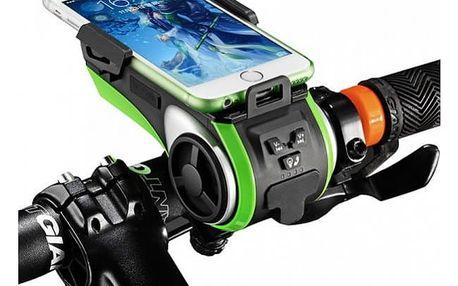 Držák mobilu na kolo 3v1 - reproduktor, svítilna a powerbanka