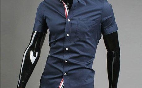 Stylová pánská košile s krátkými rukávy tmavěmodrá, vel.5 - dodání do 2 dnů