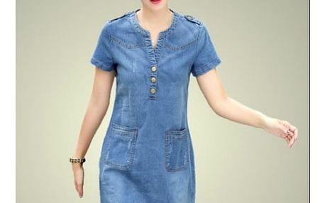 Džínové šaty s kapsami - světle modrá, velikost č. 5