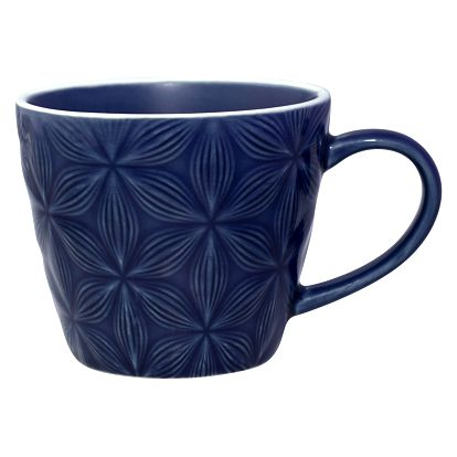 GREEN GATE Keramický hrnek Kallia dark blue, modrá barva, keramika