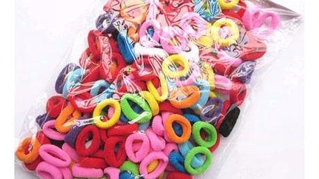 Barevné gumičky do vlasů - 100 kusů