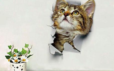 Samolepka na zeď s kočkou v roztomilém designu