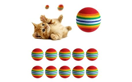 Duhový míček pro kočičky - 10 ks
