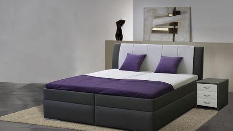 Zvýšená manželská postel BIBIANA 2 160x200 cm vč. roštu a ÚP